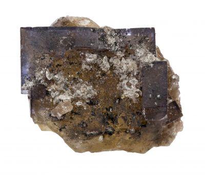Color-zoned Fluorite w/ Calcite