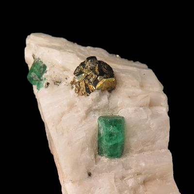 Emerald & Pyrite on Calcite (Chet Lemanski Coll.)