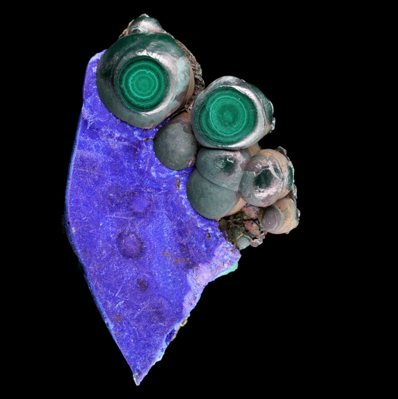 Malachite stalactites on Azurite