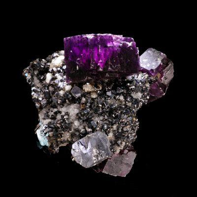 Fluorite, Galena, Sphalerite on Quartz (antique style)
