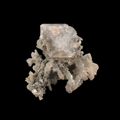 Fluorite (GEM colorless crystal) on Quartz (ex Dr. Stephen Smale Collection)