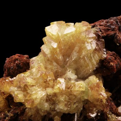 Adamite (yellow and purple crystals)