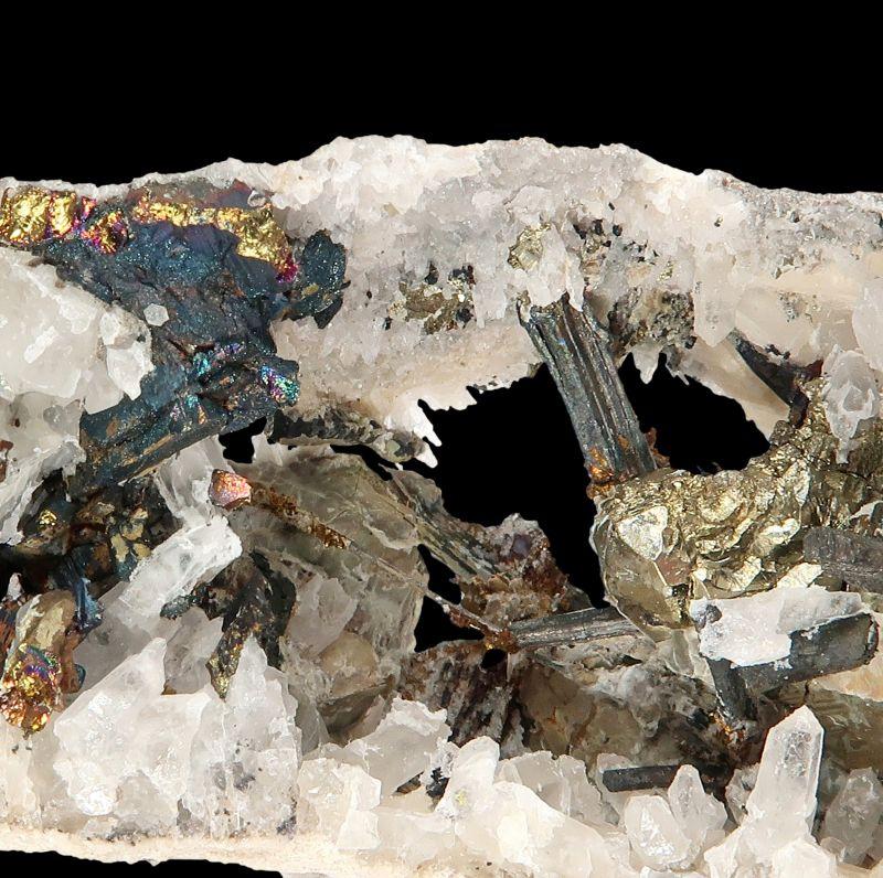 Bismuthinite, Pyrite, Chalcopyrite (rare locale)
