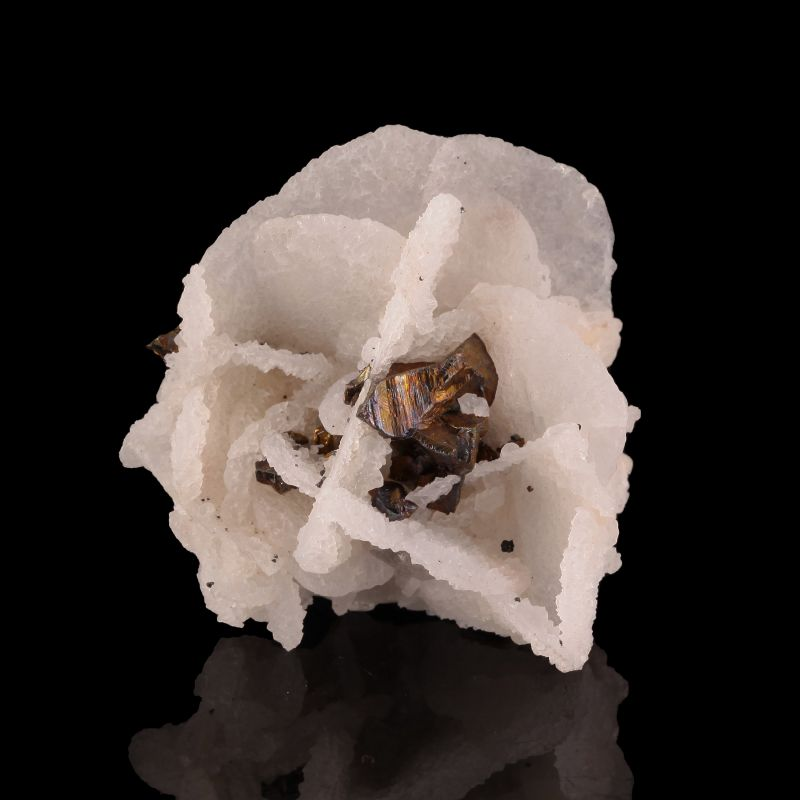Calcite (''flower'') with Chalcopyrite (ex Bob Reynolds Collection)