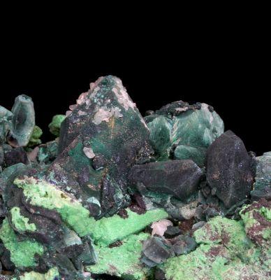 Malachite ps Azurite with Arsentsumebite ps Mimetite and Cerussite