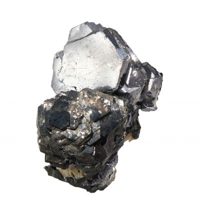 Galena (twinned) perched on Sphalerite