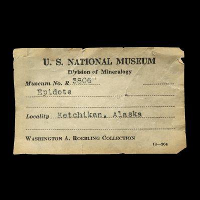 Epidote (ex Roebling circa 1900, Smithsonian)