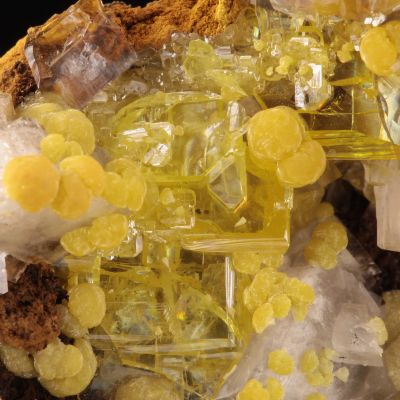 Mimetite and Wulfenite on Calcite (superb old classic) (ex Yoder Collection)