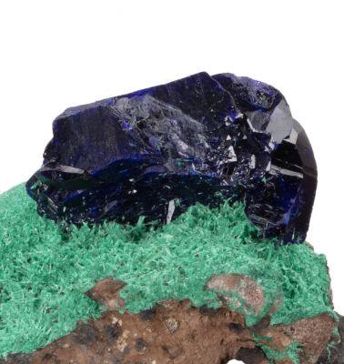 Azurite perched on Malachite ex K Williams Coll