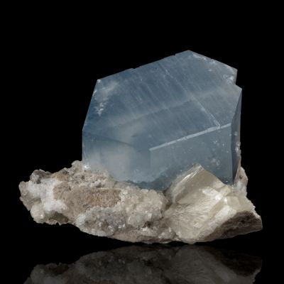Celestine on Calcite  ex K. Williams