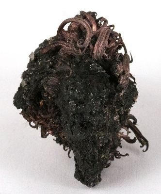 Silver wires on Acanthite (Irv Brown Coll.) old, classic locale